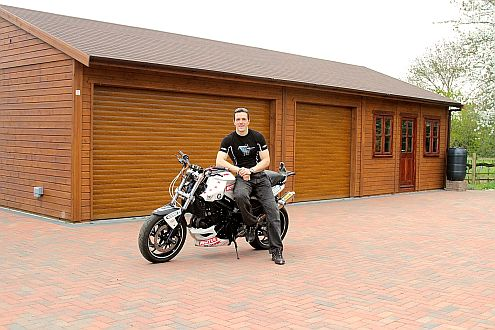 Warwick Buildings Owners Club member Rick English, Stunt Rider for some of the world�s biggest movies including Skyfall and Harry Potter, with his Warwick Buildings Garage. Join NOW and enjoy a package of benefits plus those which come naturally with ownership of a Warwick Buildings Garage